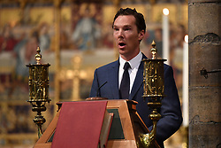 Benedict Cumberbatch speaking at the memorial service for Professor Stephen Hawking, at Westminster Abbey, London.
