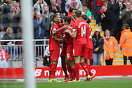 Philippe Coutinho of Liverpool (c) celebrates with his teammates after scoring his teams 4th goal. Premier League match, Liverpool v Hull City at the Anfield stadium in Liverpool, Merseyside on Saturday 24th September 2016.<br /> pic by Chris Stading, Andrew Orchard sports photography.
