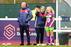 Tanya Oxtoby manager of Bristol City Women talks with Katie Robinson of Bristol City Women prior to her debut appearance - Mandatory by-line: Ryan Hiscott/JMP - 14/10/2018 - FOOTBALL - Stoke Gifford Stadium - Bristol, England - Bristol City Women v Birmingham City Women - FA Women's Super League 1