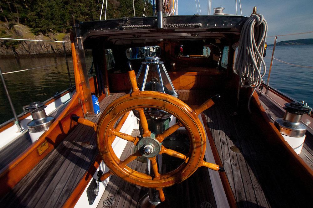 Steering Wheel on Orion at Jones Island State Park, San Juan Islands, Washington, US