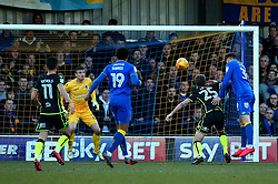 Joe Pigott of AFC Wimbledon scores a goal to make it 1-0 and win the game late on - Mandatory by-line: Robbie Stephenson/JMP - 17/02/2018 - FOOTBALL - Cherry Red Records Stadium - Kingston upon Thames, England - AFC Wimbledon v Bristol Rovers - Sky Bet League One