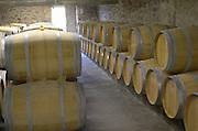 Oak barrel aging and fermentation cellar. Chateau Richelieu, Fronsac, Bordeaux, France