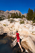 Hiker above Big Pine Lake #3, John Muir Wilderness, Sierra Nevada Mountains, California USA