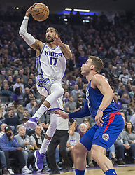 November 25, 2017 - Sacramento, CA, USA - The Sacramento Kings' Garrett Temple (17) goes to the basket against the Los Angeles Clippers' Blake Griffin (32) in the first half on Saturday, Nov. 25, 2017, at Golden 1 Center in Sacramento, Calif. (Credit Image: © Hector Amezcua/TNS via ZUMA Wire)
