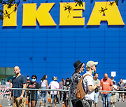 Customers queuing at the IKEA Greenwich store in South London as it reopens to the public following the introduction of measures to bring England out of lockdown, Monday, Jun 1, 2020. (Photo/ Vudi Xhymshiti)