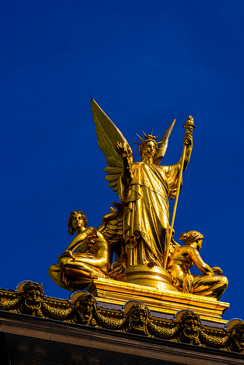 Statue atop the Paris Opera, Paris, France.
