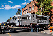 "On October 8, 2019, the Galloping Goose No. 4 parked next to the San Miguel County Courthouse in Telluride is moved onto a truck for transport to a new home at the Ridgway Railroad Museum, in Colorado, USA. Seven Galloping ""Geese"" were built in the 1930s to cart U.S. Mail, passengers and freight along the Rio Grande Southern Railroad throughout southwestern Colorado, from Ridgway to Telluride, Rico, Dolores and Durango. All seven have been restored to their former glory. Telluride's No. 4 was restored over a four-year process in Ridgway in cooperation between the railway museum and the Telluride Volunteer Fire Department."