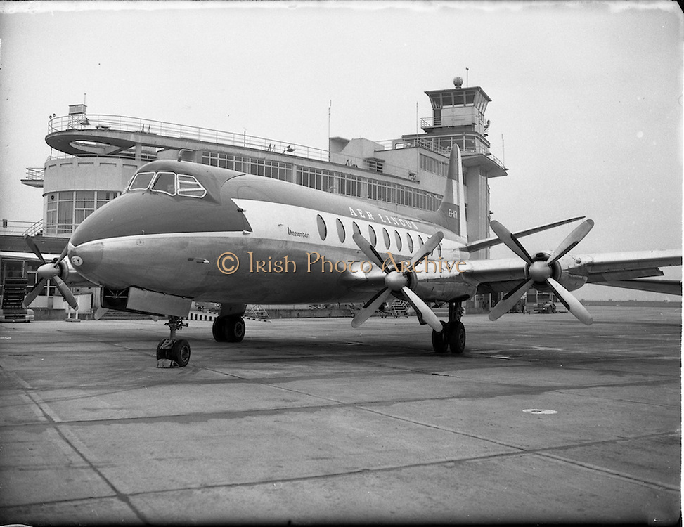 """21/01/1956<br /> 01/21/1956<br /> 21st January 1956<br /> Aer Lingus special - aircraft with new markings, the Vickers Viscount 700 """"Breandán"""" in front of the terminal building at Dublin Airport."""