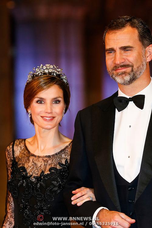 NLD/Amsterdam/20130429- Afscheidsdiner Konining Beatrix Rijksmuseum, Princess Letizia en crownprince Felipe van Spanje