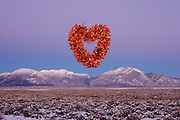 Chili heart over mountains in winter