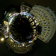BUDAPEST, HUNGARY - DECEMBER 07:  (EDITOR'S NOTE: This image has been digitally altered in post) A little planet of Christmas light and decorations on the Vorosmarty Square on December 7, 2017 in Budapest, Hungary. The traditional Christmas market and lights will stay until 31st December 2017.