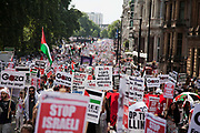 Tens of thousands of protesters marched in Central London to show their outrage against the Israeli onslaught on Gaza.