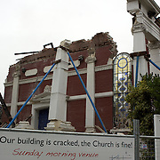 The sign outside the Oxford Terrace Baptist Church after last years earthquake in Christchurch. The church was not so lucky after a Powerful earth quake ripped through Christchurch, New Zealand on Tuesday lunch time killing at least 65 people as it brought down buildings, buckled roads and damaged churches and the Cities Cathedral. Photo Tim Clayton