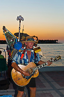 Buskers performing, Sunset celebration, Mallory Square, Key West, Florida Keys, Florida USA