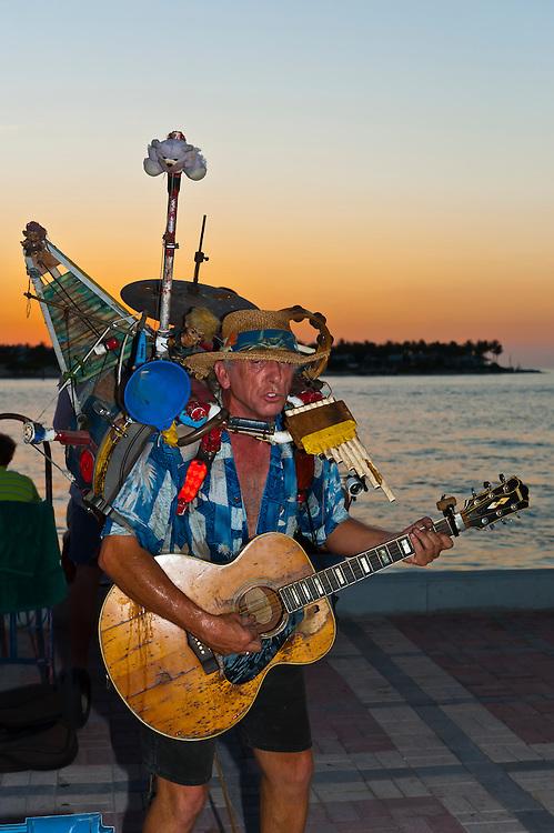 Buskers performing, Sunset celebration, Mallory Square, Key West, Florida Keys, Florida USA