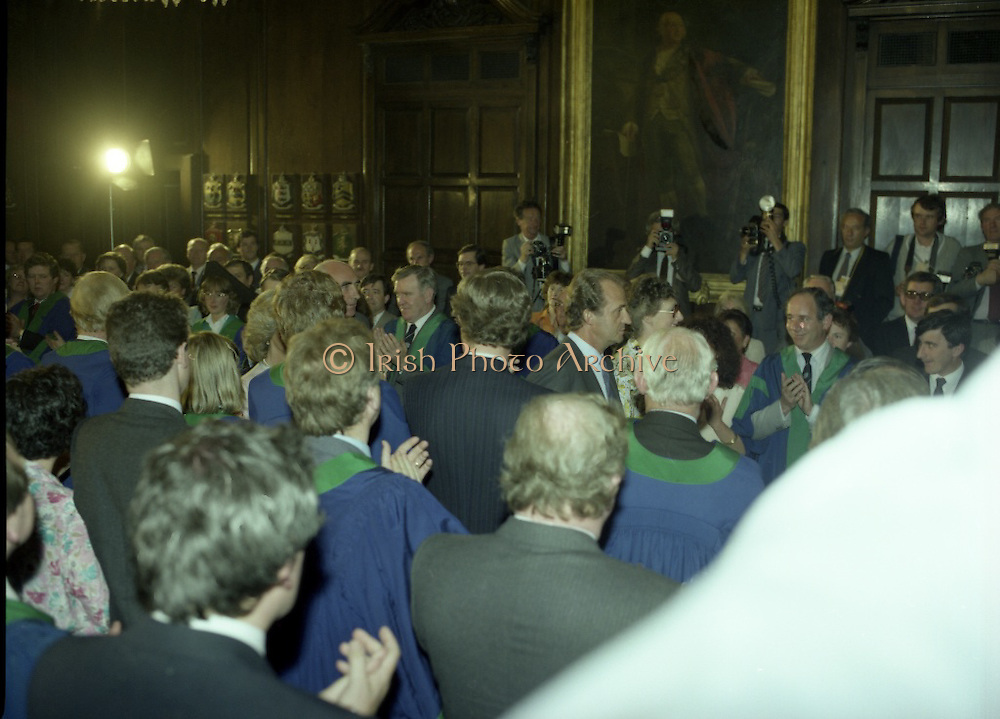State Visit of King Juan Carlos and Queen Sophia of Spain to Ireland.<br /> 1986.<br /> 30.06.1986<br /> 06.30.1986.<br /> 30th June 1986.<br /> King Juan Carlos and Queen Sophia paid a state visit to Ireland at the invitation of President Hillery and the Irish people.<br /> The duration of the visit was three days.<br /> <br /> Picture of  King Juan Carlos of Spain being greeted by Dublin City Councillors. Mr Ben Briscoe and Mr Jim Mitchell are facing the King.