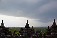 Stone landscape of Borobudur Temple in Magelang, Central Java, Indonesia, Southeast Asia