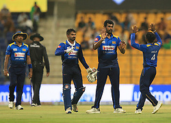 September 17, 2018 - Abu Dhabi, United Arab Emirates - Sri Lankan cricketer Thisara Perera celebrates with his team mates after taking a wicket during the 3rd cricket match of Asia Cup 2018 between Sri Lanka and Afghanistan at the Sheikh Zayed Stadium,Abu Dhabi, United Arab Emirates. 09-17-2018  (Credit Image: © Tharaka Basnayaka/NurPhoto/ZUMA Press)
