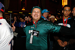 A Philadelphia Eagles fan before the first round of the NFL Draft on April 26th 2012 at Radio City Music Hall in New York, New York. (AP Photo/Brian Garfinkel)