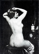 Femme a sa Toilette [Woman at her Toilet - sitting naked woman as seen from behind] by Maxime Dastique from Le Nu au Salon 1893 A collection of Nude photography published in Paris in 1908 by Societe nationale des beaux-arts (France). et Societe des artistes francais. Catalogues of nudes exhibited at the official Paris Salons. Risqué photography is material that is slightly indecent or liable to shock, especially as sexually suggestive.