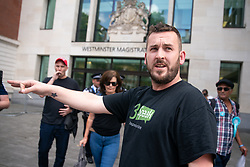 © Licensed to London News Pictures. 22/07/2019. London, UK. Pro-Brexit activist and yellow vest demonstrator James Goddard leaves Westminster Magistrates' Court during a break in his sentencing case, after admitting to harassing pro-remain MP Anna Soubry by calling her a 'Nazi'. Photo credit : Tom Nicholson/LNP