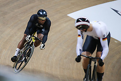 March 2, 2019 - Pruszkow, Poland - Nicholas Paul (L) of Trinidad and Tobago and Stefan Botticher (GER) compete in the Men's sprint qualifying race on day four of the UCI Track Cycling World Championships held in the BGZ BNP Paribas Velodrome Arena on March 02 2019 in Pruszkow, Poland. (Credit Image: © Foto Olimpik/NurPhoto via ZUMA Press)