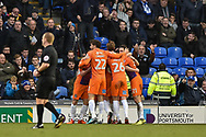 Northampton Town Players Celebrate after Northampton Town Forward, Chris Long (19) scores to make it 0-1 during the EFL Sky Bet League 1 match between Portsmouth and Northampton Town at Fratton Park, Portsmouth, England on 30 December 2017. Photo by Adam Rivers.