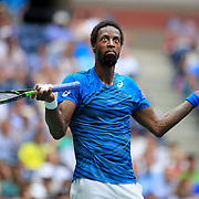 2016 U.S. Open - Day 12  Gael Monfils of France reacts to the fans booing him during his match against Novak Djokovic of Serbia in the Men's Singles Semifinal match on Arthur Ashe Stadium on day twelve of the 2016 US Open Tennis Tournament at the USTA Billie Jean King National Tennis Center on September 9, 2016 in Flushing, Queens, New York City.  (Photo by Tim Clayton/Corbis via Getty Images)