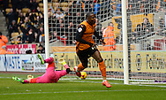 Benik Afobe celebrates scoring goal during the Sky Bet Championship match between Wolverhampton Wanderers and Reading at Molineux, Wolverhampton, England on 7 February 2015. Photo by Alan Franklin.