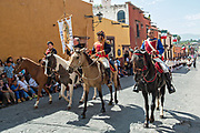 Costumed historic figures re-enact the ride that began the Mexican Independence movement during National Day celebrations September 16, 2017 in San Miguel de Allende, Mexico.