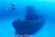 divers on tugboat wreck Northwind,<br /> sunk to film movie and left as <br /> artificial reef, St. Croix, U.S. Virgin Islands <br /> ( Caribbean Sea ) MR 103 MR 105