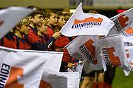 Flag bearers during the Guinness Pro 14 2018_19 match between Edinburgh Rugby and Benetton Treviso at Murrayfield Stadium, Edinburgh, Scotland on 28 September 2018.