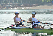 Belgrade, SERBIA. 2012  USA2 W2X.  bow. Caroline LIND and Taylor RITZEL, move away from the start. FISA World Cup I.   Friday  04/05/2012 [Mandatory Credit. Peter Spurrier/Intersport Images]