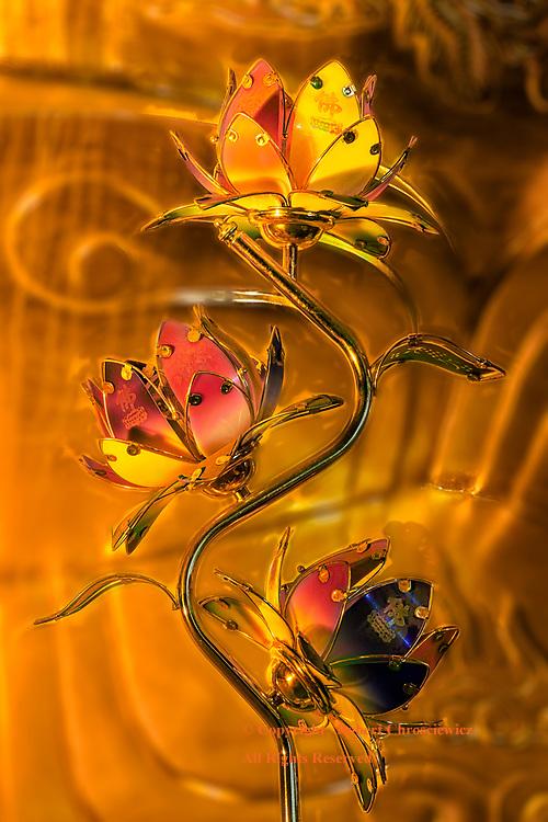 Bái Đính Flowers:This outstanding example of intricate metallic flower art is found in the Buddhist Bái Đính Temple, Ninh Binh Vietnam.
