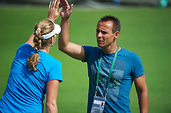 26.06.2012, Wimbledon, London, GBR, WTA, The Championships Wimbledon, im Bild Petra Kvitova (CZE) with coach David Dydra during day two of the WTA Tour Wimbledon Lawn Tennis Championships at the All England Lawn Tennis and Croquet Club, London, Great Britain on 2012/06/26. EXPA Pictures © 2012, PhotoCredit: EXPA/ Propagandaphoto/ David Rawcliff..***** ATTENTION - OUT OF ENG, GBR, UK *****