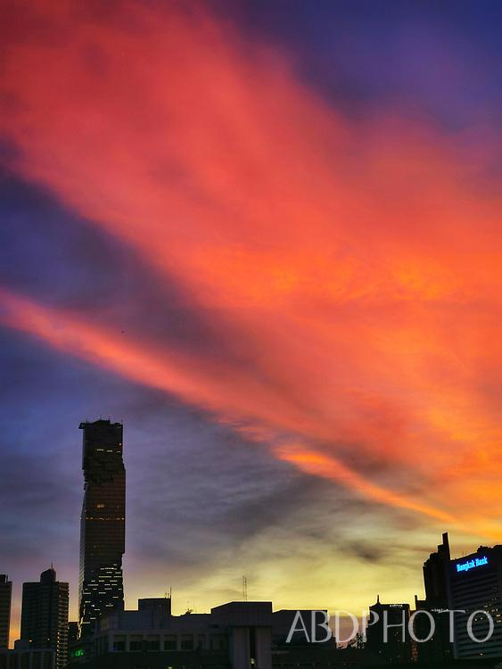 Bangkok skyline sunset Thailand