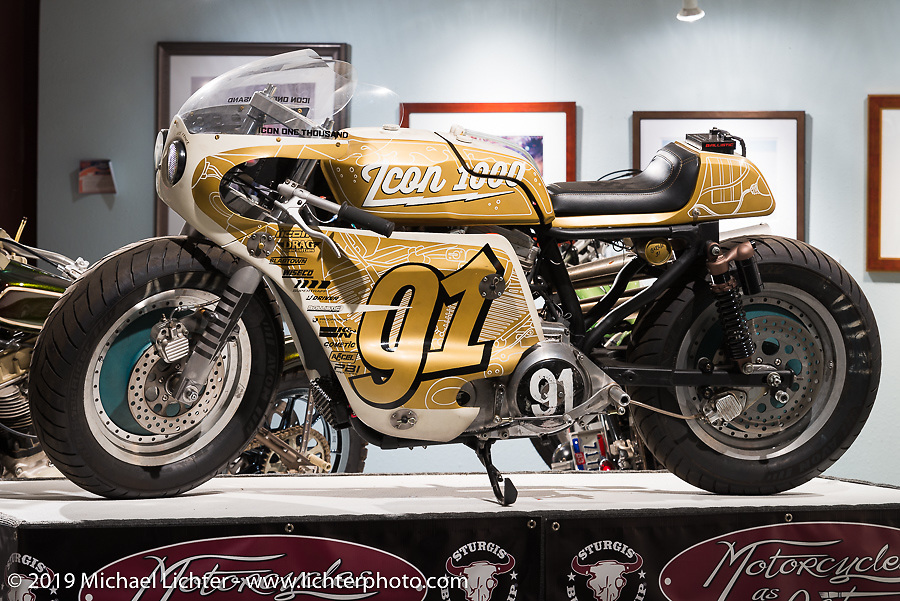 """Icon's """"1000"""" Harley racer in the """"Built for Speed"""" exhibition curated by Michael Lichter and Paul D'Orleans in the Russ Brown Events Center as part of the annual """"Motorcycles as Art"""" series at the Sturgis Buffalo Chip during the Black Hills Motorcycle Rally. SD, USA. August 7, 2014.  Photography ©2014 Michael Lichter."""