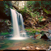 Grotto Falls, Great Smoky Mountains National Park. 4x5 Kodak Ektar 100. <br /> photo by Nathan Lambrecht