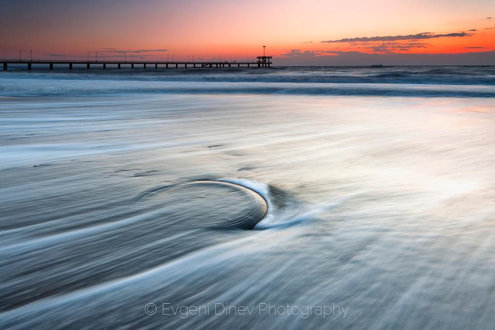 Dawn at the beach of Burgas