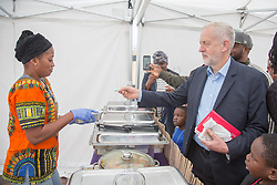@Licensed to London News Pictures 30/09/2017. Grays, Thurrock, Essex. Leader of the Labour Party, Mr Jeremy Corbyn MP visits Grays High Street today meeting with local market traders and members of the public along with the Thurrock party faithful. Thurrock has a Conservative majority of only 345 so is considered as a key constituency for the Labour Party campaign. Photo credit: Manu Palomeque/LNP