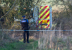 """© Licensed to London News Pictures. 23/02/2019. Highworth, Wiltshire, UK. Police search a field off Pentylands Lane in Highworth. It is reported that police are probing a potential link to the disappearance of Linda Razzell, a mother of four missing since 2002. Linda Razzell was last seen on her way to work in Swindon but the 41-year-old's body has never been found. Her husband, Glyn, was sentenced to life for her murder in 2003. Wiltshire Police said it was acting on a tip-off from the public and it was """"keeping an open mind"""" as to whether it relates to Mrs Razzell's murder. Photo credit: Simon Chapman/LNP"""