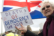 The day the United Kingdom was due to leave the European Union, pro and anti Brexit campaigners gather outside Westminster on the 12th April 2019 in London in the United Kingdom.