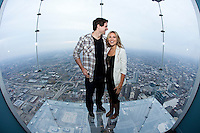 Patrick and Abby Sharp of the Chicago Blackhawks at the Willis Tower in Chicago