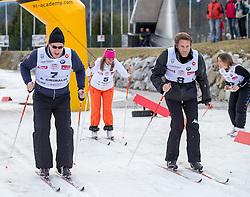 22.03.2014, Gschwandtkopf, Seefeld, AUT, 8. World Star Ski Event, Star Team for Children, Biathlon, im Bild Prinz Albert II von Monaco, Barbara Merlin (Weltmeisterin Ski Alpin), Emanuele Filiberto von Savoyenc, Pernilla Wiberg (Olympiasiegerin und Weltmeisterin Ski Alpin) // during the Biathlon of Star Team for Children of 8th World Star Ski Event at the Gschwandtkopf course in Seefeld, Austria on 2014/03/22. EXPA Pictures © 2014, PhotoCredit: EXPA/ Johann Groder