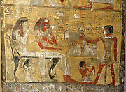 Painted limestone funerary stele of Sapair. 18th Dynasty (approx. 1400 BC). Depicts Sapair and his wife before a table of offerings given by their sons. A prayer for funerary offerings is also inscribed.