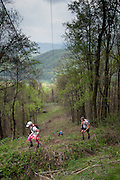 Dusty Hardman, in pink, leads William Arnold up Rat Jaw during the Barkley Marathons.