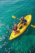 Mother and daughter, Kayaking, Kaneohe Bay, Oahu, Hawaii