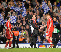 Liverpool/Chelsea Champions League semi final 2nd leg 30.04.08 <br /> Photo: Tim Parker Fotosports International<br /> Rafael Benitez Liverpool manager consoles John Arne Riise at the end of the game