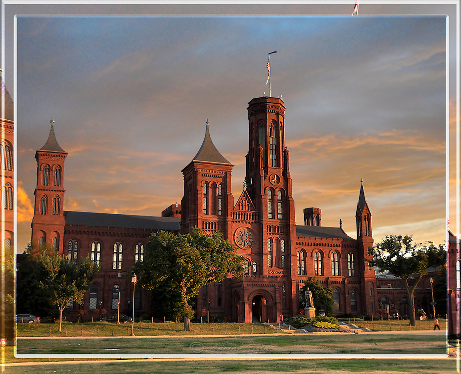 """The Smithsonian Castle, Sunset, Washington DC <br /> <br /> Lead Frame of a 3D Lenticular Series, Printable up to 24x36"""""""