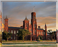 The Smithsonian Castle, Sunset, Washington DC <br />